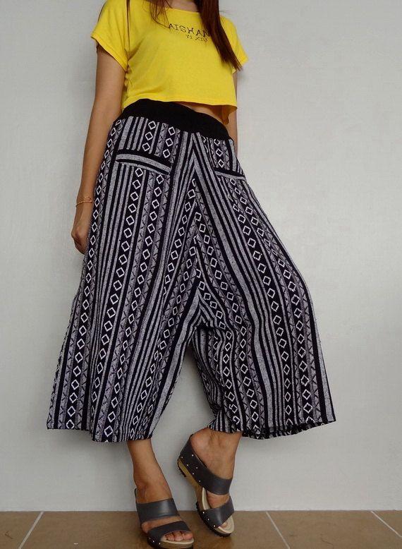 Unisex Capri Drop Crotch Pants,Harem Wide Legs Trouser, Tribal Woven fabric (pants-W6B). by Brightfashion on Etsy