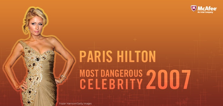 Paris Hilton is named 2007's Most Dangerous Celebrity to search for in cyberspace