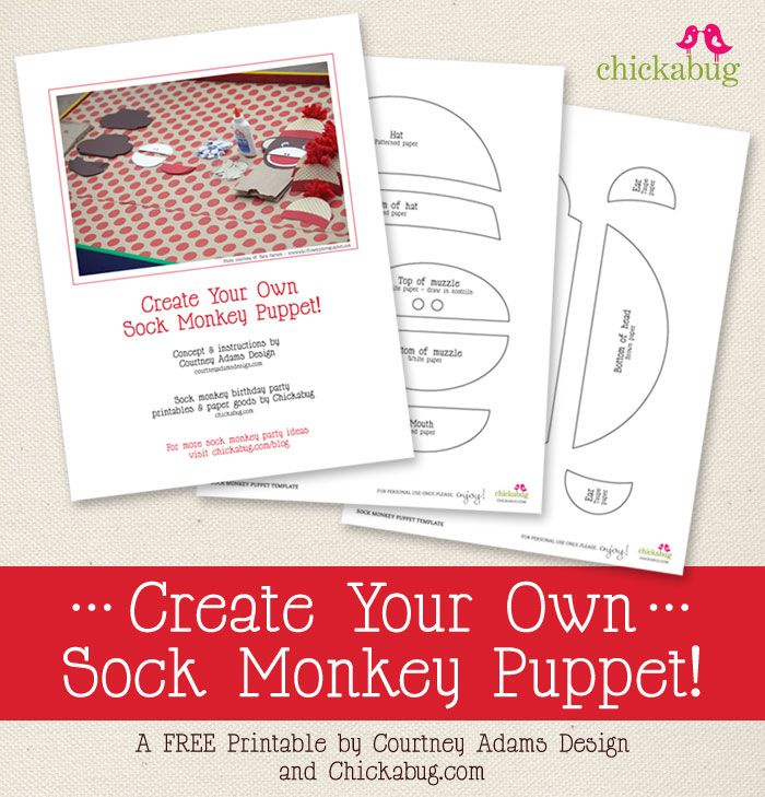 Free printable: Create Your Own Sock Monkey Puppet kit!