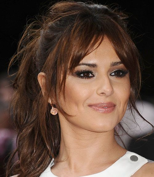 Cheryl Cole Wedding Hairstyle: Cheryl Cole Long Brunette Center Ponytail Hairstyle