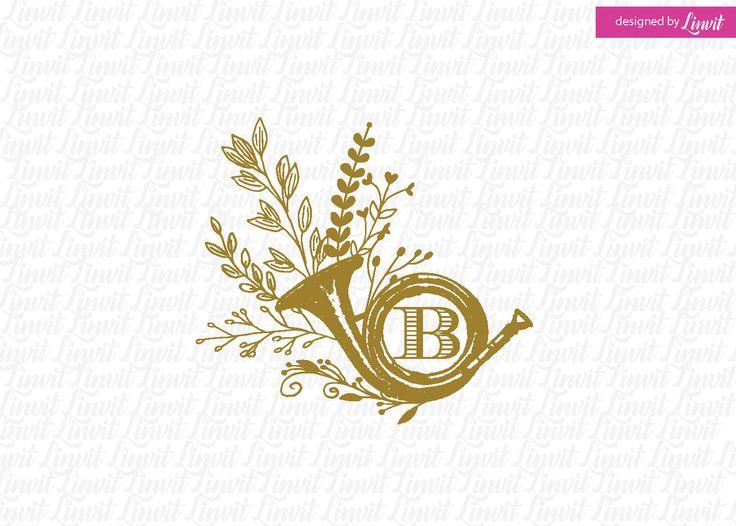 Vintage trumpet logo by Linvit on Etsy
