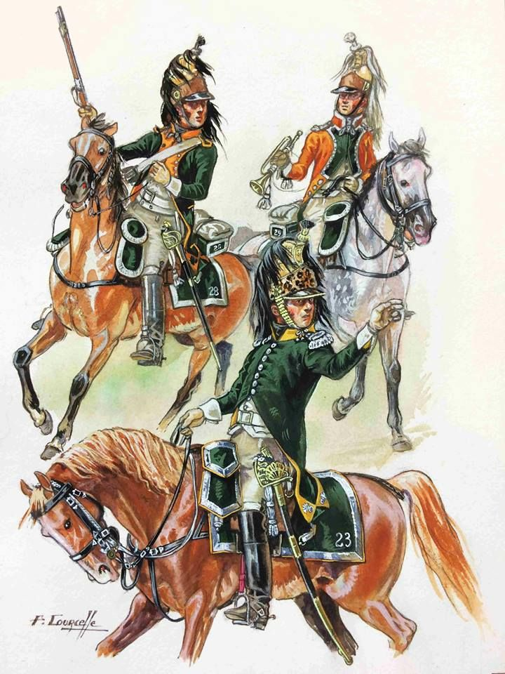 French, 28th Dragoons, Dragoon. 23rd Dragoons, Officer & 29th Dragoons, Trumpeter, Italian Campaign 1805/06 by P.Courcelle