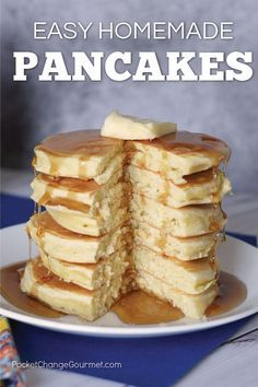 This Easy Homemade Pancake Recipe is light and fluffy! The BEST pancake you will ever make! Mix the dry ingredients ahead of time and have them on hand, then quickly add the wet ingredients! Great for breakfast, brunch, lunch or dinner!