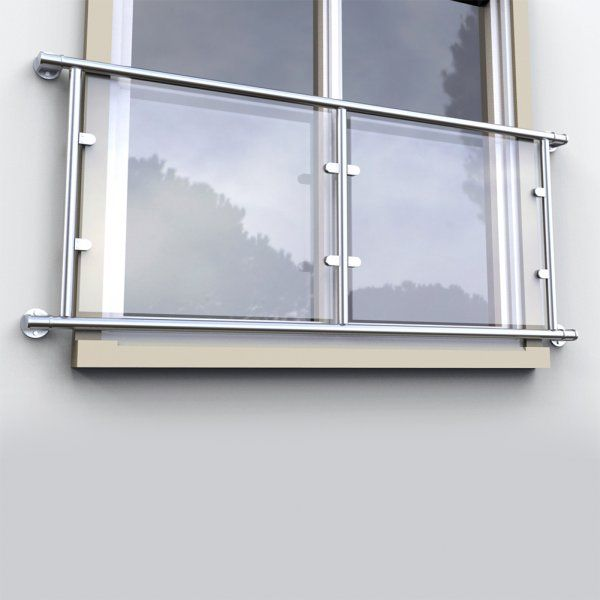 Juliette Balcony Double Door Kit For 48.3mm x Stainless 316 (no glass)