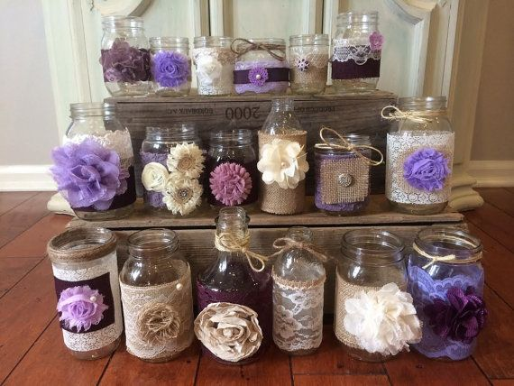LAVENDER LILAC WEDDING Decor. 15 Bulk Burlap Lace Mason Jars and Bottles. Head Table Decor, Wedding Centerpieces Purple Wedding