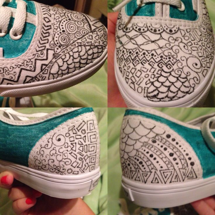 Decorated white vans shoes
