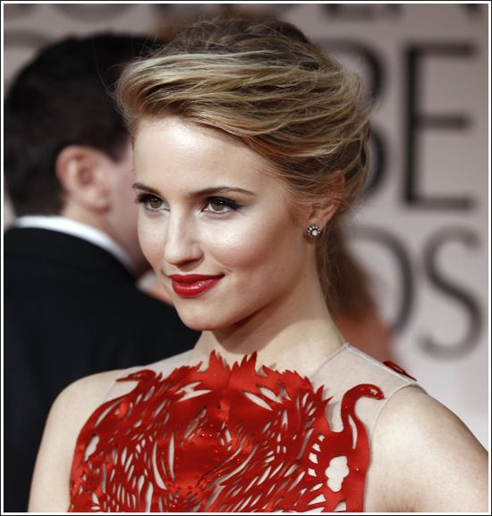 Diana Agron, with what looks like an amazing appliqué on her top.  Want to see the rest of the outfit.