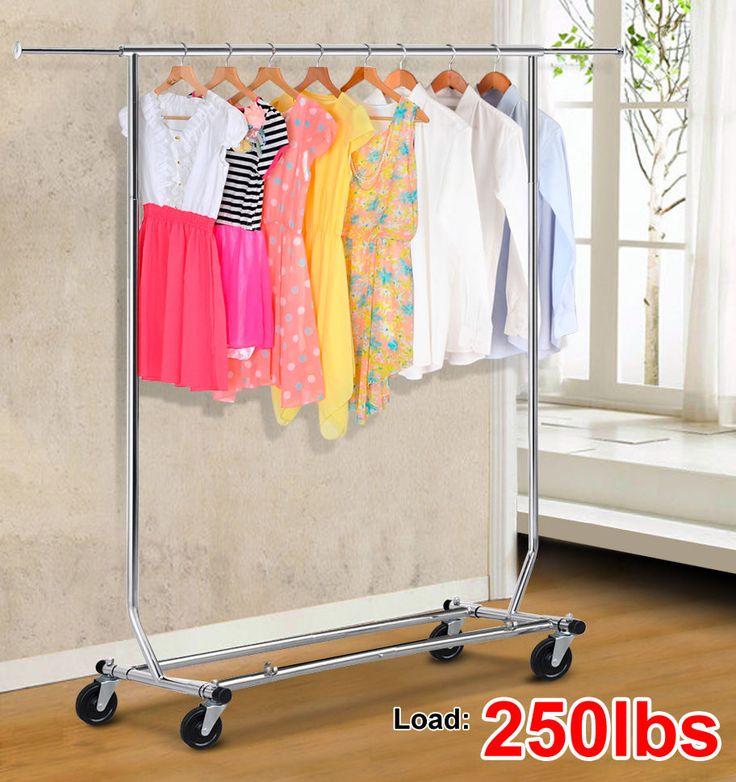 heavy duty commercial grade clothing garment rolling rack chrome ebay