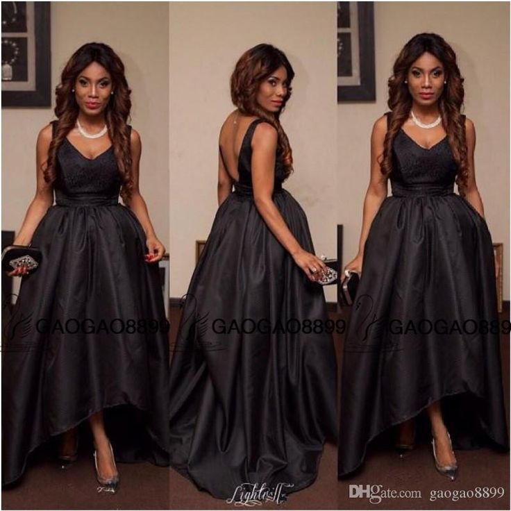 Sexy V Neck Sleeveless Prom Dresses High Low Nigeria Ball Gown Spaghetti Little Black Dress Evening Party Wear Abendkleider Vestido Longo Long Elegant Dresses Long Prom Dresses Uk From Gaogao8899, $102.52| Dhgate.Com