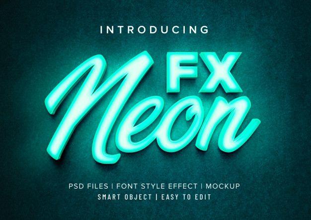 3d Neon Font Style Effect Mockup Font Styles Light Font Fonts