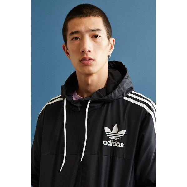 adidas CLFN Black + White Windbreaker Jacket (120 CAD) ❤ liked on Polyvore featuring men's fashion, men's clothing, men's activewear, men's activewear jackets and adidas