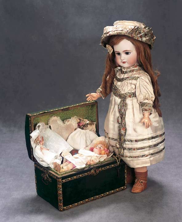 tiny doll with trunk and trousseau - DOLLS - Sandra Crist Ferrell