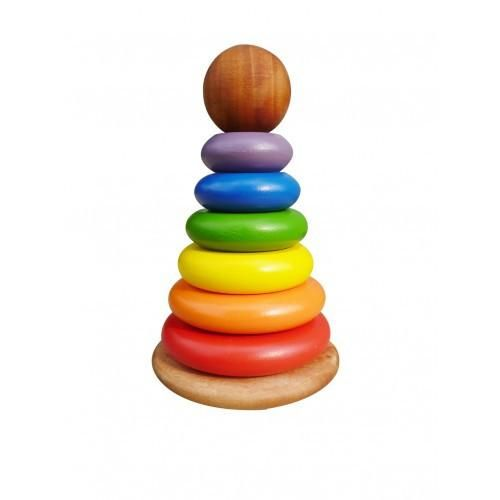 An old-school favourite, stacking rings are great for colour and coordination skills. For ages 2+ Approx 18cm tall Doing a Little Good This product is: Fair tra