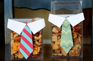 baby boy shower refreshments - I like the idea of chex mix for those who don't like sweets - and the paper shirts/ties is super cute!