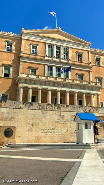 "Greek Parliament. In Athens, the ""Birthplace of Democracy"", the past meets today; in a place full of life with quiet and romantic ""corners"" waiting to be discovered!  #athens #dreamingreece #travelguide #travel #greece #vacations #holidays #museums"