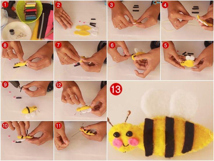 Cara Membuat Bros Bentuk Lebah Dari Kain Flanel