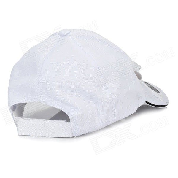 Stylish Baseball Hat/Cap with Solar Powered Cooling Fan (White)