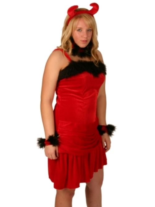 This lovely velvet dress comes complete with Horns, Wrist cuffs and Choker. Another idea for an easy quick fix with pizazz