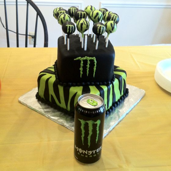Monster energy birthday cake..@Janet Saunders, I know what I'm making you next year.  The blue Monster Energy, though.