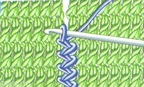 Соединение вязаных крючком деталей чередующимися столбиками без накида