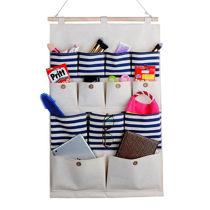 Amazon.com - Home-Cube® Linen/Cotton Fabric 13 Pockets Wall Door Closet Hanging Storage Bag Organizer, White Polka Dots/Navy Stripe (Dark blue stripe) -