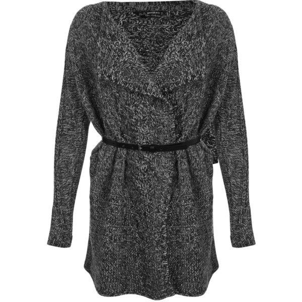 Miss Selfridge Petites Long Sleeve Cardigan ($21) ❤ liked on Polyvore featuring tops, cardigans, grey, petite, gray top, chunky cardigan, grey cardigan, long sleeve cardigan y long sleeve tops