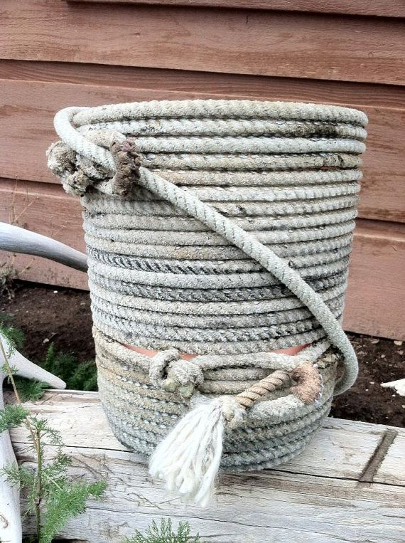 Western Rope Bathroom Waste basket by SparkleWithMe on Etsy, $75.00....we could make these!!
