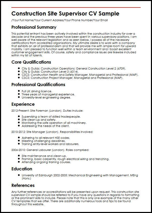 Resume Templates Construction Construction Resume