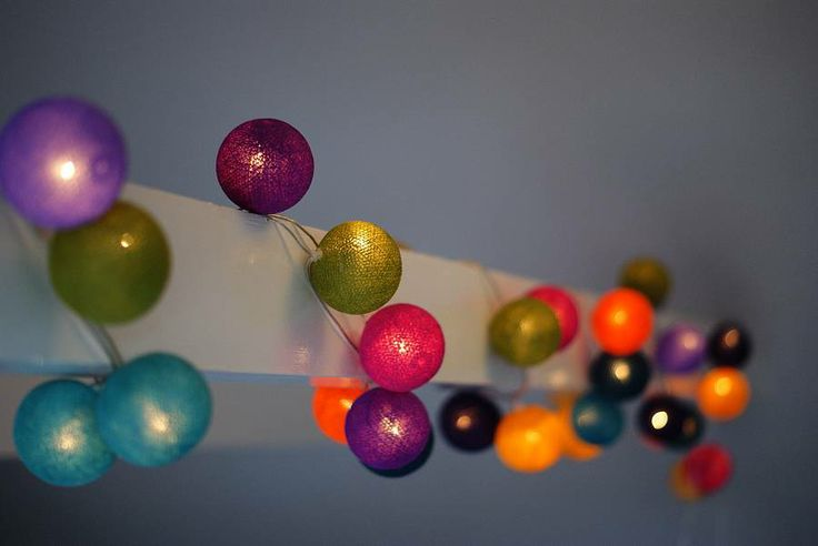 Create a magical atmosphere with these lights. Handcrafted coloured cotton ball string lights arriving a just-gorgeous.com soon