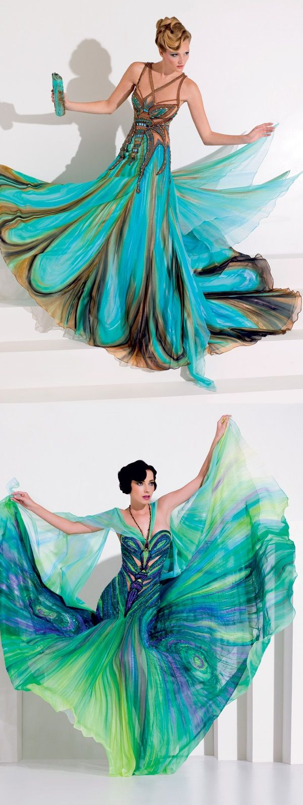 Amazing Dresses by Blanka Matragi- these dresses remind me of peacocks