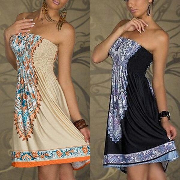 Sexy Women Mini Dress Casual Floral Bandeau Beach Summer Boho Maxi Sundress #Beach #boho #boho-dress