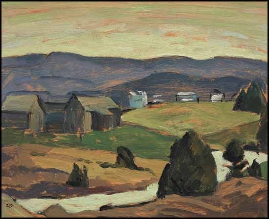 """""""Morin Heights,"""" Edwin Headley Holgate, ca. 1950, oil on panel, 8 1/2 x 10 1/2"""", private collection."""