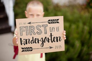 "Printable First Day of School signs - Free Printable signs    Included are preschool, Pre-K, Kindergarten, 1st - 6th grade AND a generic ""first day of school"" sign"
