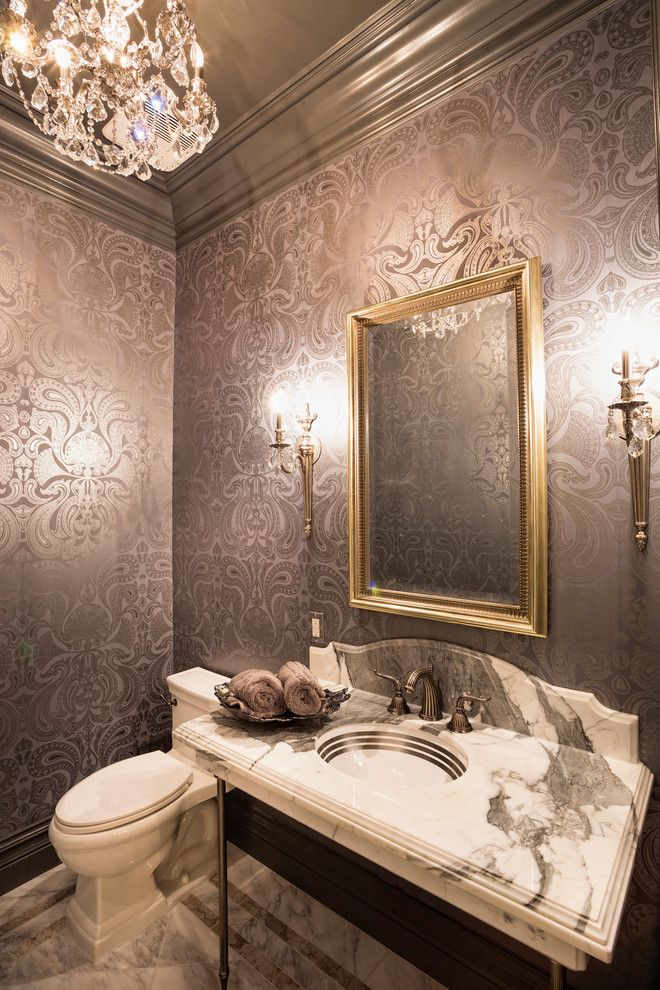 bright torchiere in powder room victorian with painted border next to bathroom wallpaper alongside wallpaper in
