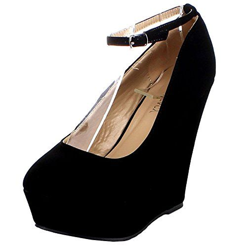 Delicacy Trendy29 Womens New Hot Fashion Wedge Platform Pumps Sexy HeelsBlack8 >>> Details can be found by clicking on the image.