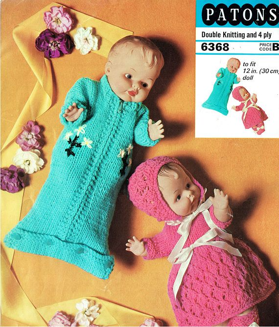 PDF Vintage Doll Clothes Knitting Pattern Patons 6368 Bunting
