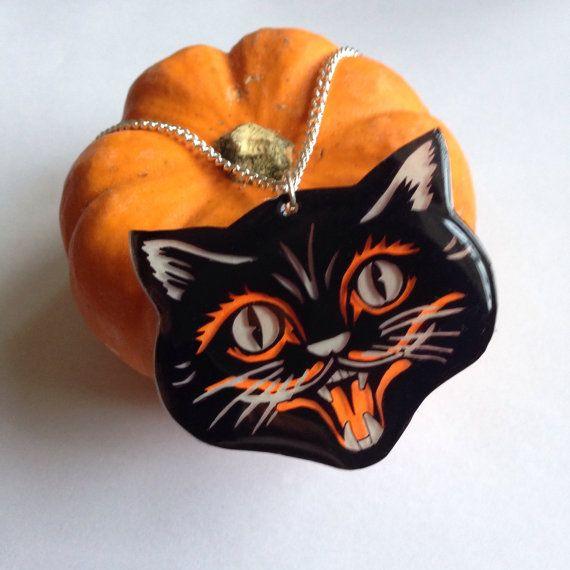 Halloween Retro Statement Black Cat Necklace by KittysKitschenette