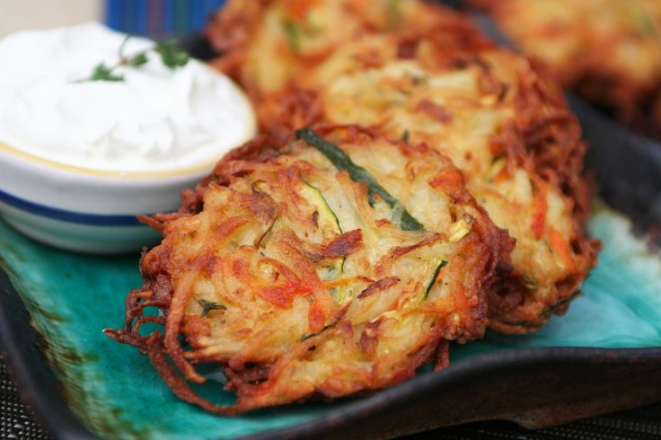 Veggies have never tasted so good. Serve these easy and simple Potato, Carrot, and Zucchini Latkes with a heaping spoonful of sour cream. Click on the image for the recipe.