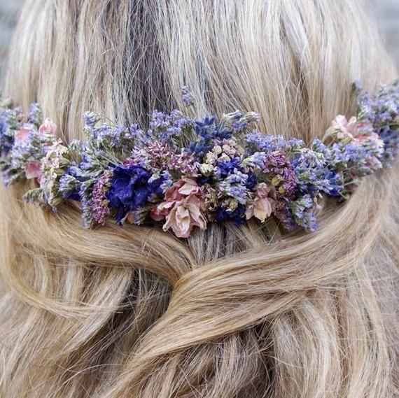 Midnight Haze dried flower half hair wreath with comb