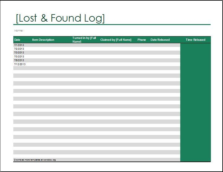 Lost and Found Log template DOWNLOAD at http\/\/worddoxorg\/lost - daily log templates word