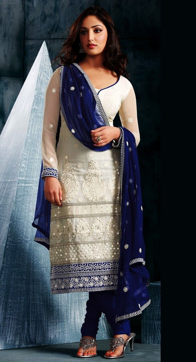 "Indian bridal fashion and glamour | Marvelous Off White Color Designer Salwar Kameez | Sophisticated Bride |Pretty Bride in white blue Sari wedding gown | Dress like princess | win her heart and love and get her to say ""YES"" with fancy designer vintage style diamonds engagement ring that she will treasure forever and after and then both say ""I DO"" with fancy designer vintage style diamonds wedding band 