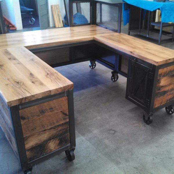 Custom Reception Desk, Reclaimed Wood & Steel, Work Station, U Shaped Desk