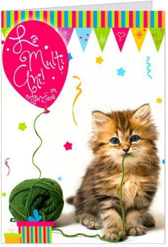 """Urare cu intarziere si o pisicuta  Felicitare de zi de nastere personalizabila, cu o pisicuta si baloane, iar mesajul sau este """"La multi ani ... cu intarziere"""""""