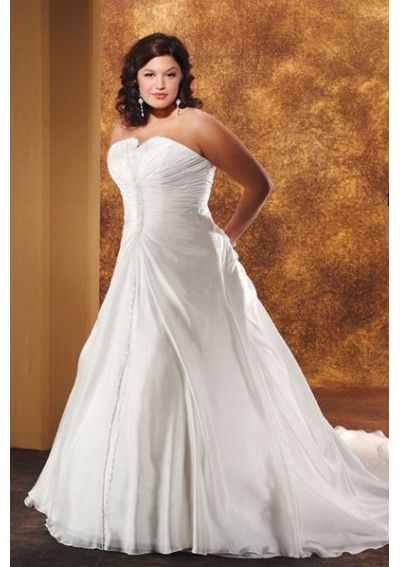 Organza Strapless A line Princess with Rouched Bodice and Semi-cathedral Train Plus Size Wedding Dress WP-0025