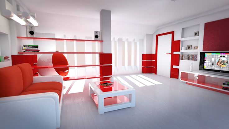 House Design,Extraordinary Family Room Interior Design With White And Red Colored Style Decor And Modern White Entertainment Center Also Cozy White Red Cushioned Loveseat On Combined Simple Coffee Table Plus Stunning Floating Shelf Behind Egg Chair,Top Choice Minimalist Modern Interior Design For Your Home