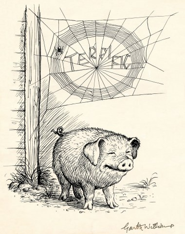 There Was the Handsome Pig, and Over Him, Woven Neatly in Block Letters, Was the Word TERRIFIC, Charlotte's Web page 95 illustration by G Williams, 1952