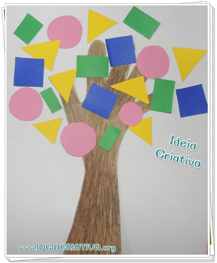 Atividade Dia da Árvore Figura Geométrica Contorno da Mão Colagem …
