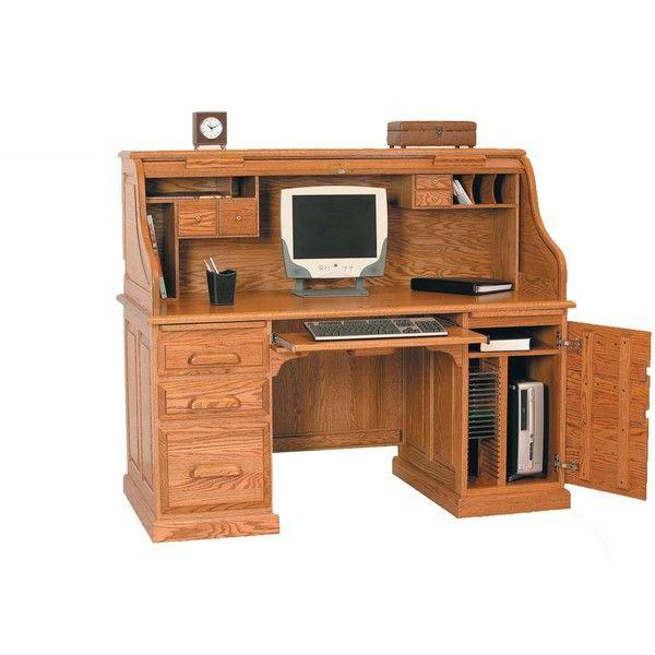 """Amish Vintage 60"""" Computer Rolltop Desk (28.335 DKK) ❤ liked on Polyvore featuring home, furniture, desks, brown desk, home office computer desk, computer furniture, home computer furniture and computer desk"""