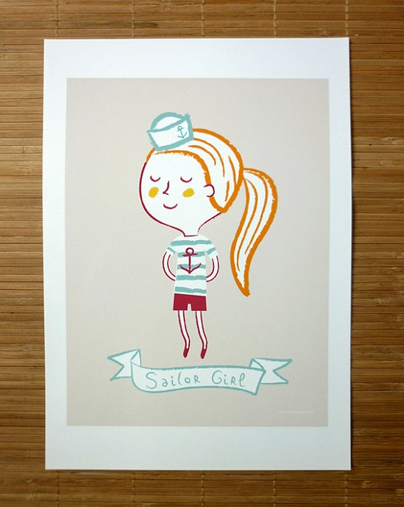 Sailor girl illustrated by Verónica Grech  https://www.etsy.com/listing/107643047/sailor-girl-print-poster-wall-decor