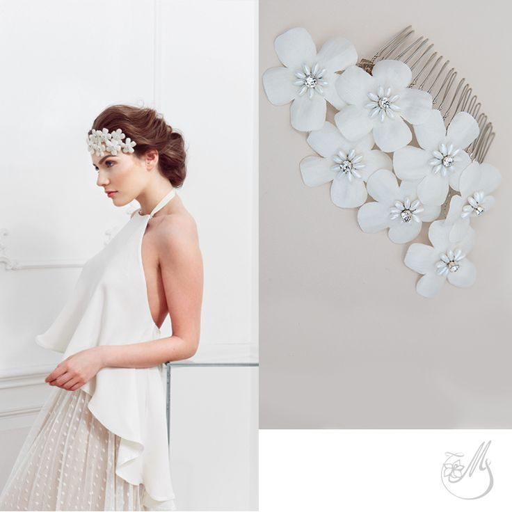 Seven #handmade #flowers come together in #GhostofLove, a piece created from hand pressed #silk duchess petals and wired with Preciosa #glass #beads and #Swarovski #pearls. #mbridal #maccessories #accessory #lovehimbeforeyousayyes